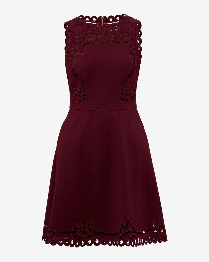 Cut-work skater dress - Oxblood | Dresses | Ted Baker UK