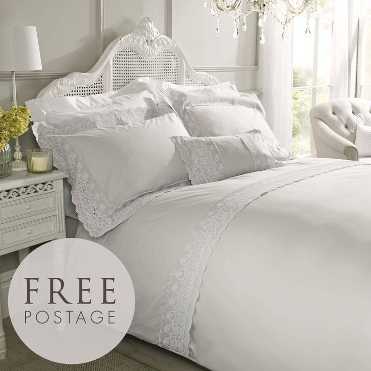 Aimee by Holly Willoughby bedding comes in neutral grey tones with a broderie anglaise lace edge....  ideal for a cottage bedroom (or any bedroom..!!)