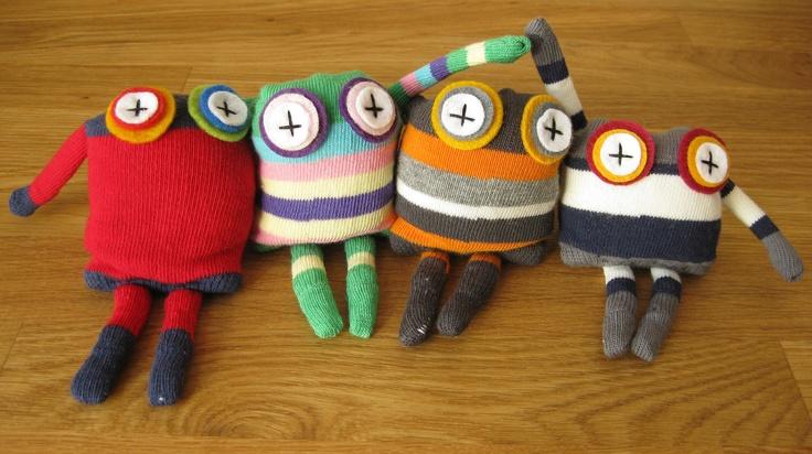 sock monkey sock toy monster sock monster rice by stitchink, £10.00