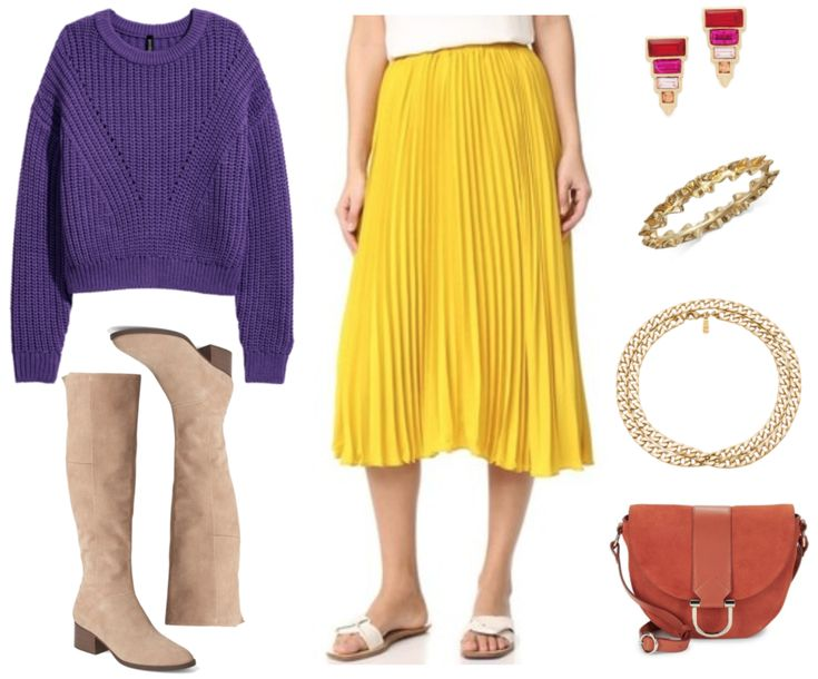 Ultra Violet rib-knit sweater with hole-knit details at front and drop shoulders, beige suede knee-high almond-toe boots with low block heel that has a stacked wooden finish, bright yellow pleated midi skirt, gold stud earrings with graduated baguette-shaped red, bright pink, and pale pink stones with orange square shaped stone at bottom and gold triangle beneath it; gold ruffled-look bangle, thick gold chain necklace wrapped to create two layers, dark orange suede saddle bag with dark…