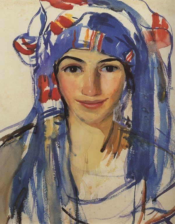 Self Portrait Wearing a Scarf (1911)  by Zinaida Serebriakova (1884-1967)