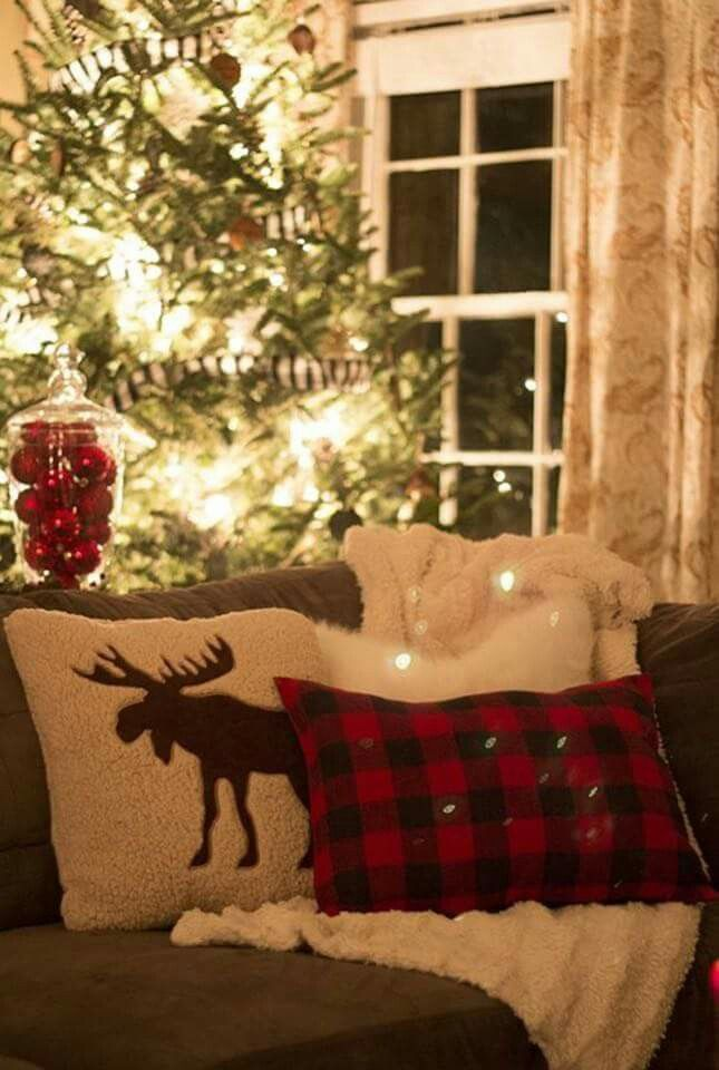 Make pillow covers out of old flannel shirts for Christmas