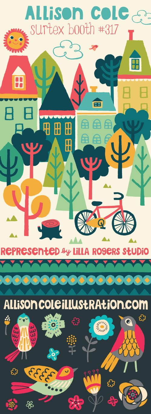 allison cole illustration | Blog - house, trees, bicycle, flat design