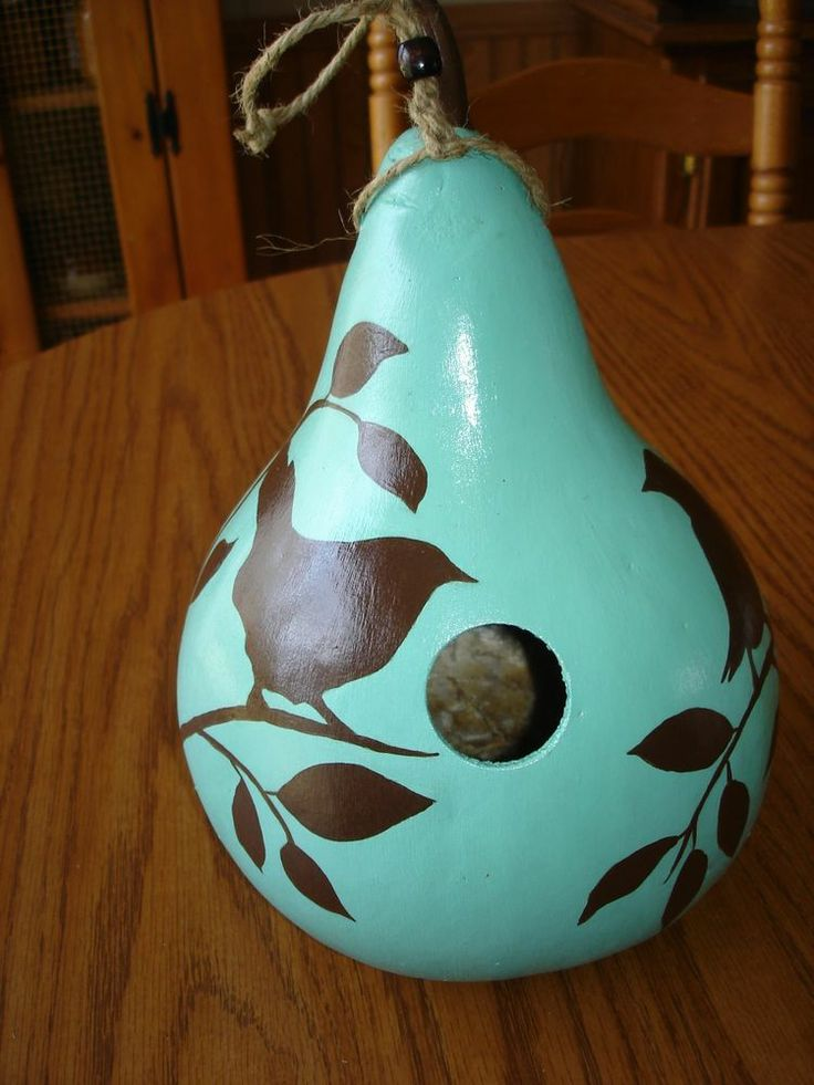 HAND PAINTED BIRDHOUSE GOURD---definitely going to re-create this. Hubby just went on a trip and brought back a bag full of dried gourds for me :)