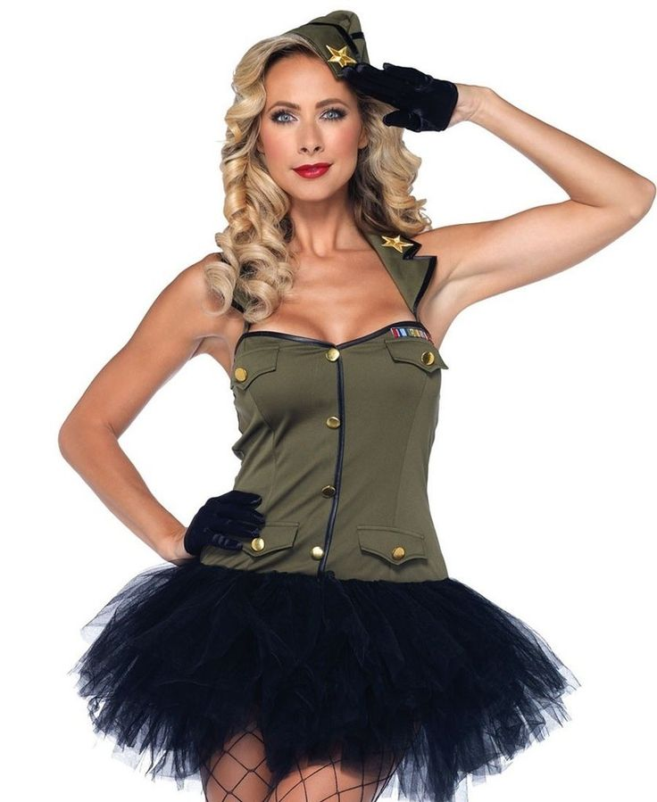 LA85005 Sexy USO Girl Army Fancy Dress Costume