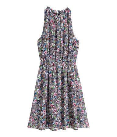 Chiffon dress | Dark blue/Floral | LADIES | H&M ZA