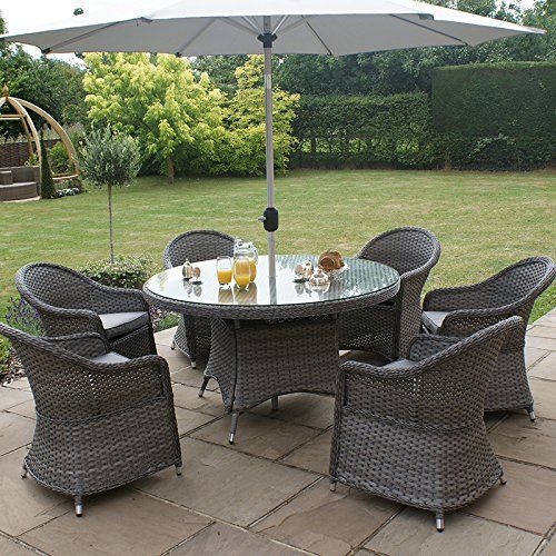 All Weather 6 Seater Outdoor Rattan Garden Furniture Dining Set   Grey