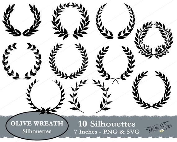 Olive Wreath Svg Olive Branch Laurel Wreath Silhouette Olive Wreath Wreath Images Kotinos Svg Intertwined Circle Digital Download Olive Wreath Silhouette Clip Art Jewelry Tree