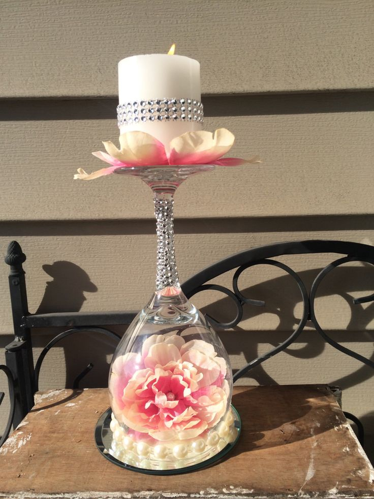 15 best home decor images on pinterest decorative for Beach wine glass candle holders