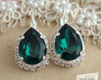 Orecchini smeraldi, sposa Orecchini smeraldo, smeraldo goccia d'argento orecchini, orecchini damigelle d'onore, gioielli di nozze di smeraldo, orecchini verdi
