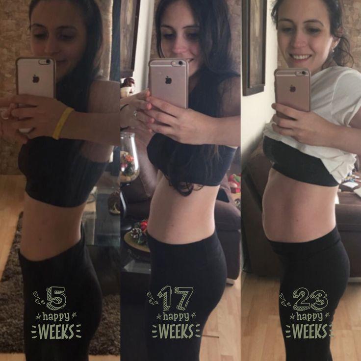 5 semanas de segundo embarazo  17 semanas de segundo embarazo  23 semanas de segundo embarazo   A mis 30 años estoy esperando a mi segundo bebé el cual viene una semana más grande de tamaño!!