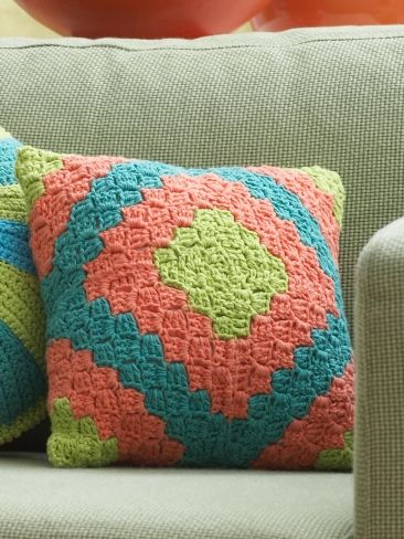 Diamond Motif Pillow | Yarn | Free Knitting Patterns | Crochet Patterns | Yarnspirations