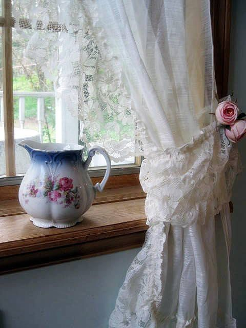 Curtains Lace Curtains Frills Drapes Ivory Tie by mailordervintage