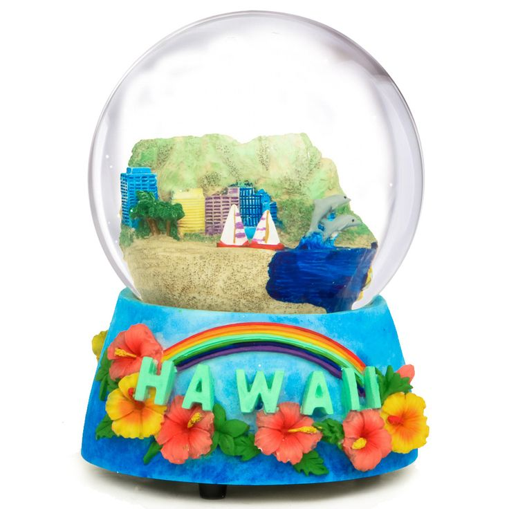 Hawaii Musical Snow Globe Our Musical Hawaii Snow Globe captures the spirit of the Hawaiian Islands in a fun size.  (http://www.nycwebstore.com/hawaii-musical-snow-globe/)