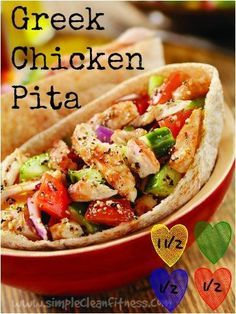 Greek Chicken Pita - 21 Day Fix Recipes - Clean Eating Recipes Healthy Recipes - Dinner - Lunch weight loss - 21 Day Fix Meals - www.simplecleanfitness.com