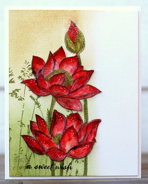 A card with the beautiful stamps from Penny Black, colored with watercolors! Awaken Nature´s Paintbrushes Happy Snippet...