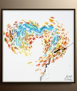 Heart Oil painting 47″ Abstract oil painting AMAZING bright colors hand made Impasto Style