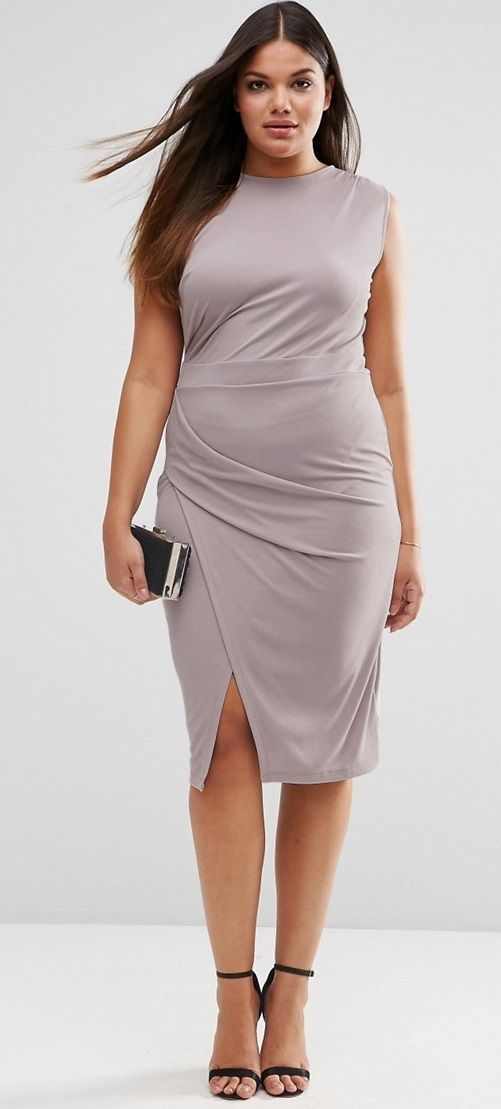Plus Size Midi Dress With Drape Side Plus Size Fashion
