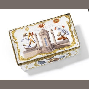 An English enamel snuff box, c.1765-70, decorated with Masonic symbols. (Bonhams)