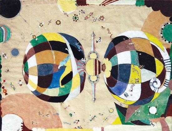 Eugen Gabritschevsky : sans titre, 1950. Gouache sur papier, 48 cm x 63. Collection Chave, Vence. Dès 1929, Il est interné dans l'hôpital psychiatrique d'Eglfing-Haar (Munich). Pendant la seconde guerre mondiale, comme beaucoup de malades mentaux, il est enfermé dans une cave où il se consacre nuit et jour à son art.