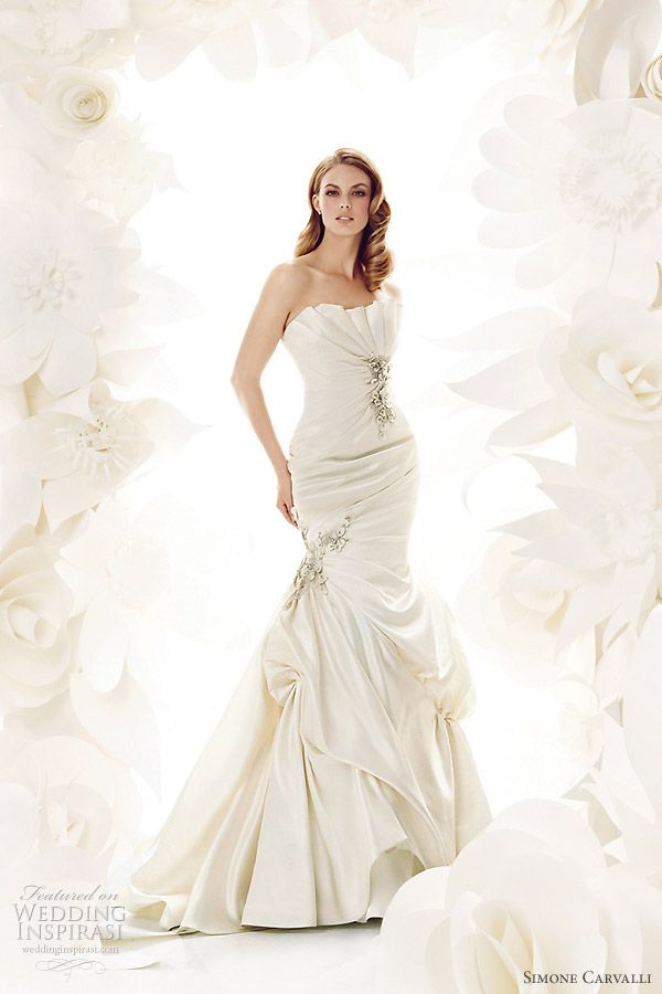 Simone Carvalli bridal gown collection - wedding dress with pleated strapless neckline, fitted bodice, slightly flared pickup skirt with embroidered detail