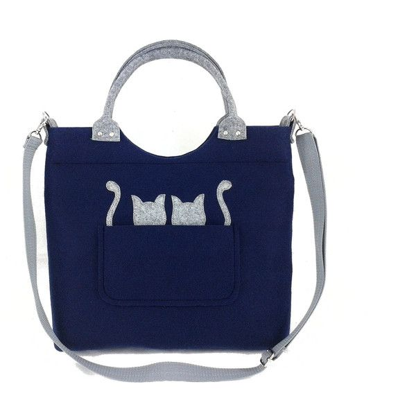 Cats handbag Felt purse Bag for women Navy blue bag Felt bag Designer... (165 PLN) ❤ liked on Polyvore featuring bags, handbags, shoulder bags, man shoulder bag, navy blue purse, navy handbags, shoulder handbags and handbags shoulder bags