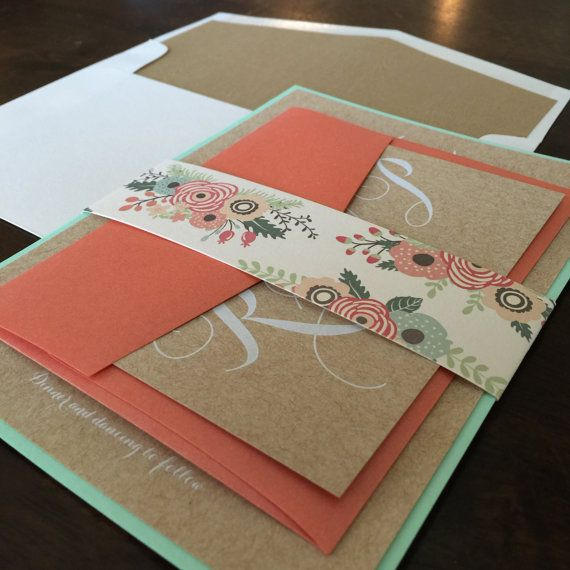 5x7 Layered Rustic Wedding Invitation Printed with White Ink on Cork Paper in Mint and Coral Includes RSVP & Wood Texture Envelope Liner