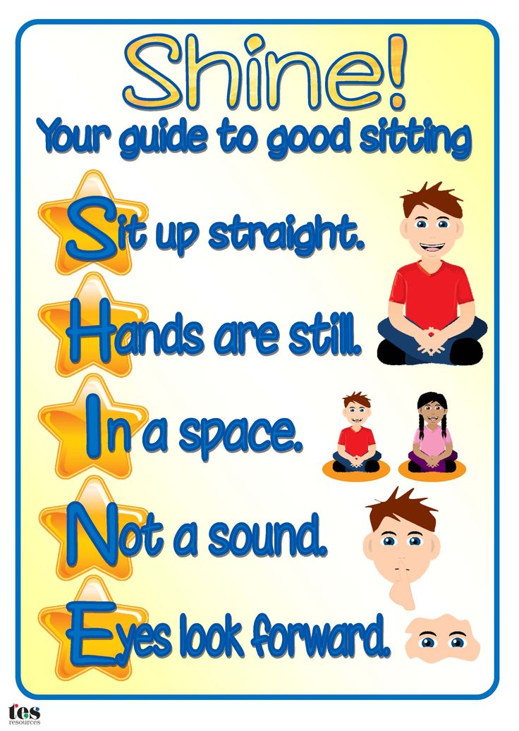 Poster, with visual support, to promote good sitting on the carpet