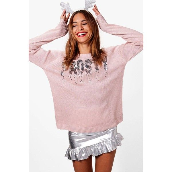 Boohoo Gemma Sequin Star Christmas Jumper (€11) ❤ liked on Polyvore featuring tops, sweaters, sequin christmas sweater, party jumpers, sequined top, sequined sweaters and turtleneck sweaters