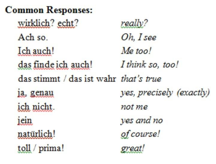 Common responses