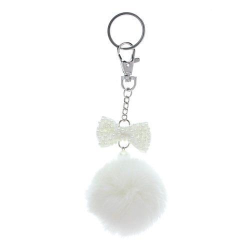 Pearl Bow Pom Pom Key Ring
