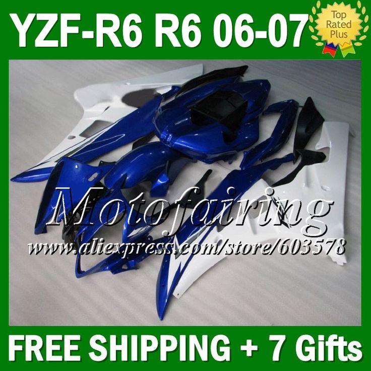 Синий белый 7 подарок + тела для YAMAHA YZFR6 YZF 600 06-07 YZF R 6 06 07 глянцевый синий L9641 YZF600 YZF-R6 YZF R6 2006 2007 обтекателя