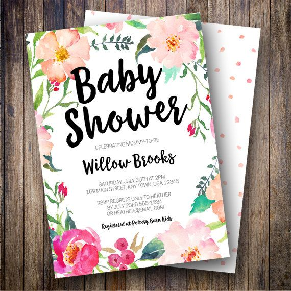 17 best ideas about floral baby shower on pinterest | cute baby, Baby shower invitations