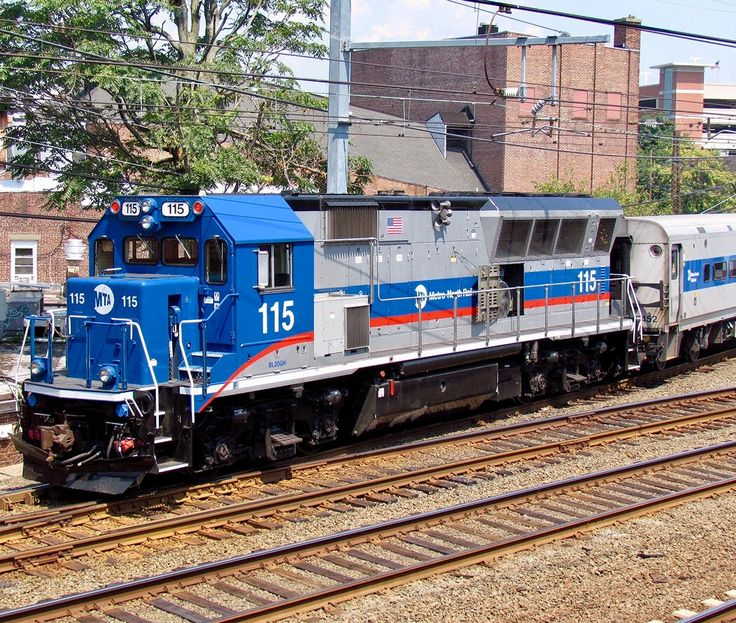 Metro-North Railroad, Brookville BL20GH diesel-electric locomotive in South Norwalk, Connecticut, USA