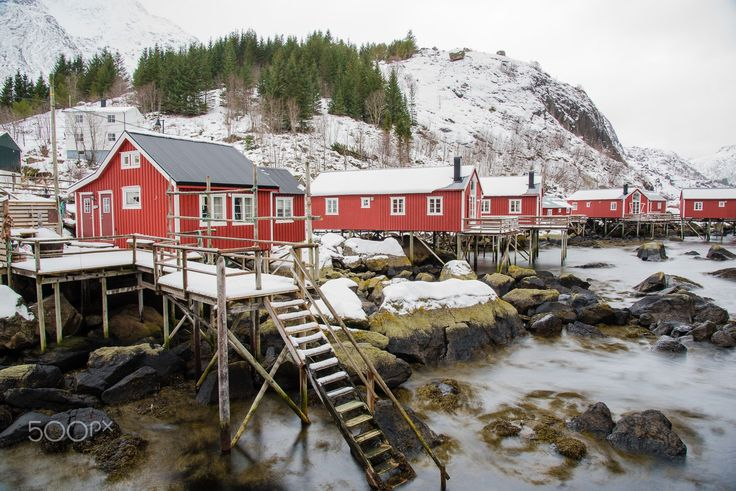 nusfjord - the small village of nusfjord is a world heritage projekt. the village is situated on the lofoten in northern norway.