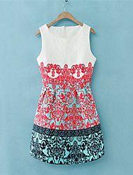 Women's Vintage/Sexy/Print/Party Inelastic Sleeve... – USD $ 14.99