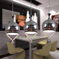 3 Heads Pendant Lights Crystal Modern/Contemporary Dining Room/Kitchen Metal