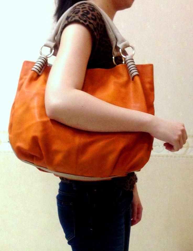Our bestseller: Rebecca leather hobo bag - orange