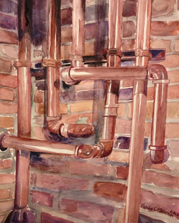original 11x14 watercolor painting industrial copper. Black Bedroom Furniture Sets. Home Design Ideas