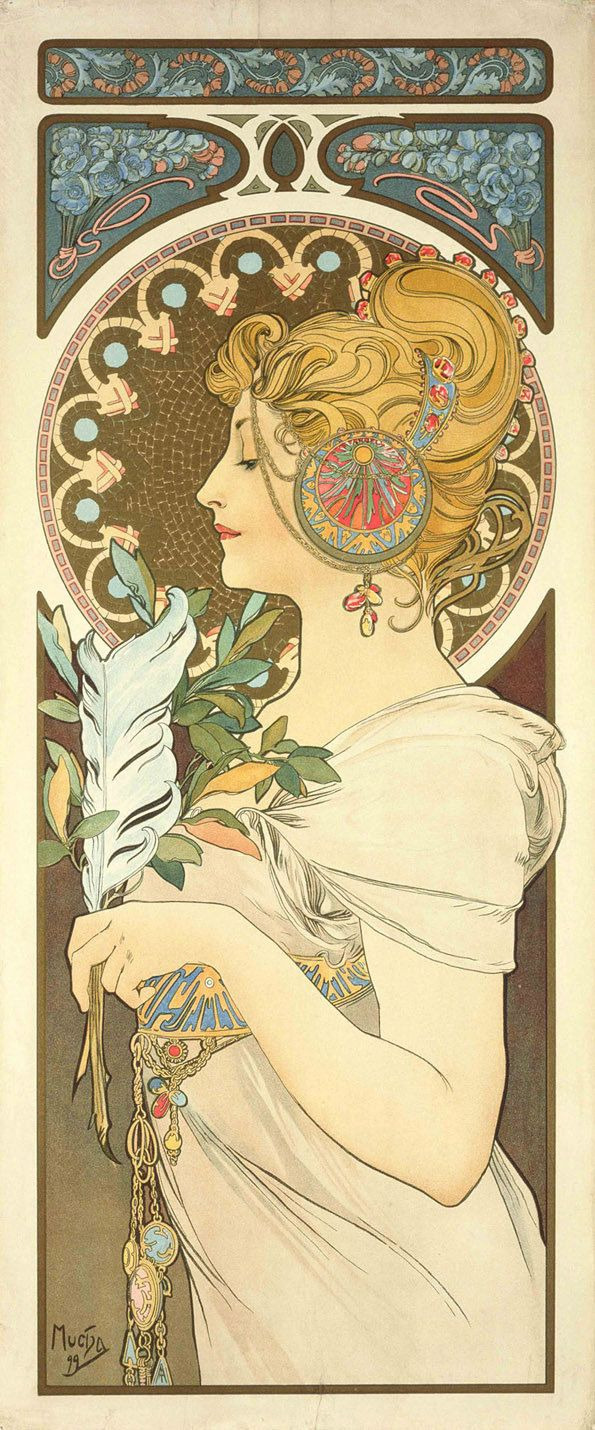 "Art Nouveau vintage illustration by Alphonse Mucha 12""x29"""