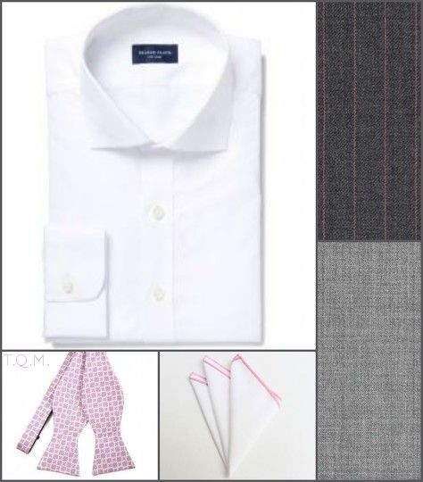 SHIRT/TIE COMBO: Proper Cloth(Shirt)-Tie Mart(Bowtie)-Dapper Man(Pocket Square)-Suggested Suit Colors(Gray w/Pink Stripes & Light Gray)-Suit Colors On Right Side.