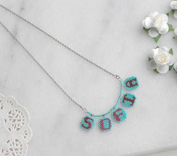 Colorful letter necklace Colorful initial jewelry Girls name