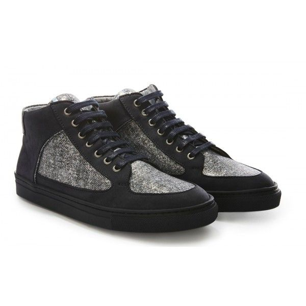 """Nola Boutique - Rose Rankin Fleck Simmy Mid Top sneakers in soft navy nubuck with iridescent silver suede panels. Navy blue cotton laces and sole with a silver leather lining and signature iridescent tag looping tongue. Fit true to size. Sole measures: 1""""/2.5cm."""