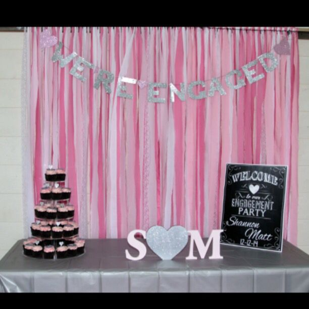 Ribbon backdrop made out of 2m strips of fabric and lace :) Banner handmade!