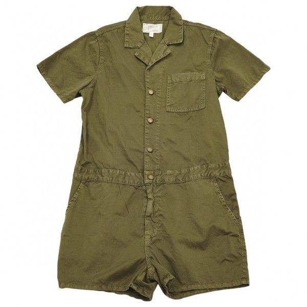 Pre-owned Current Elliott Khaki Jumpsuits ($118) ❤ liked on Polyvore featuring jumpsuits, khaki, women clothing jumpsuits, short sleeve jumpsuit, brown jumpsuit, cotton jumpsuit, jump suit and current elliott jumpsuit