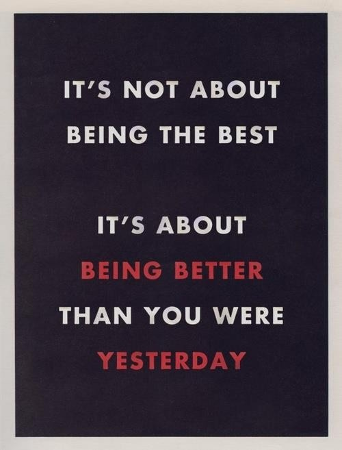 Compare yourself to yesterday, not to somebody else