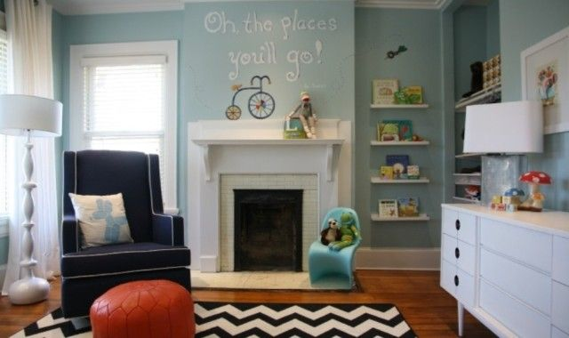 "Light Blue Nursery - Love the ""Oh the Places You'll Go"" decal and #chevron rug! #nursery #genderneutral"