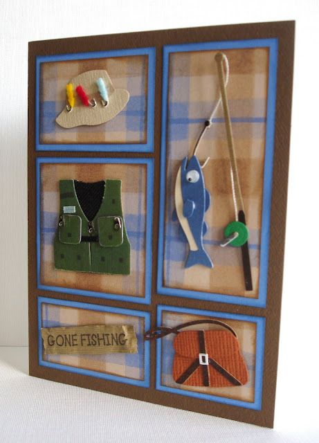 Gone Fishing  Would be cute to do appliqué. (I know it was just a paper card)