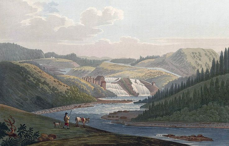 """Leer Foss, near Drontheim (JW Edy plate 74).  English: """"Leer Foss, near Drontheim"""" Norsk bokmål: «Leer Foss ved Tronhjem» Drawing by John William Edy (1760-1820) from his journey along the coast of Norway during the summer of 1800. Published in Boydell's picturesque scenery of Norway in 1820."""