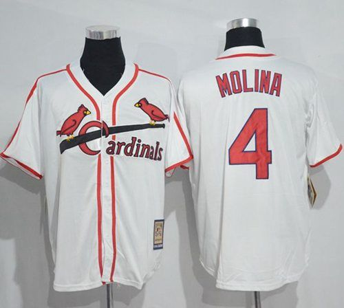 0f5446bb ... Mitchell And Ness Cardinals 4 Yadier Molina White Throwback Stitched MLB  Jersey Mens St. Louis ...